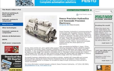 Dosco and Kawasaki Precision Machinery in Motion Control Magazine