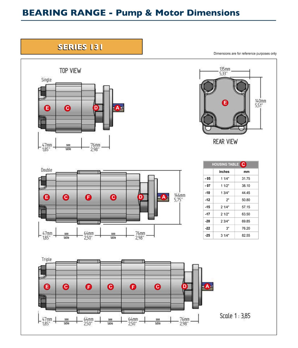 GPM Bearing Pump & Motor Dimensions-2
