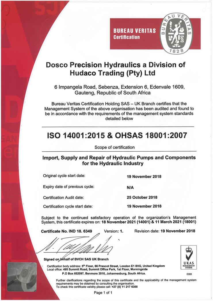 DOSCO ISO 14001-2015 and OHSAS 18001-2007 Certificate