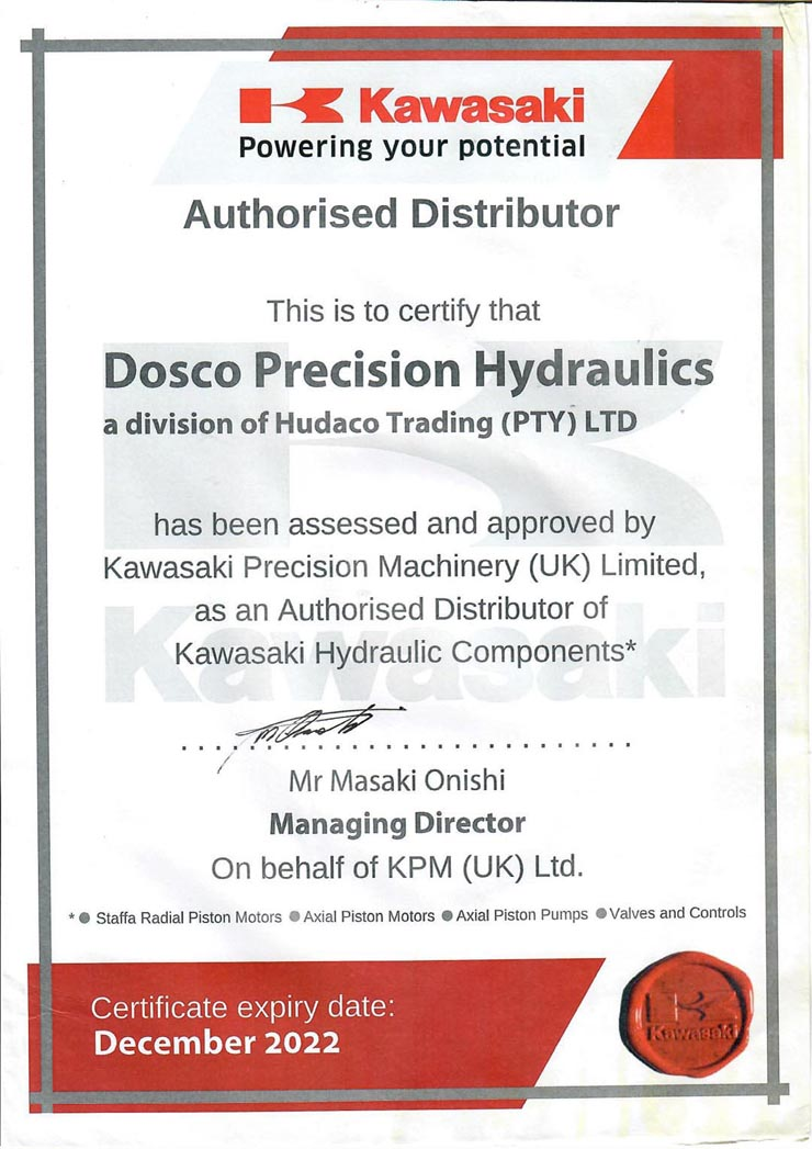 DOSCO KPM Distributor and Repair Centre Certificate